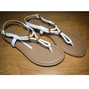 NEW White and Tan Women's Sandals